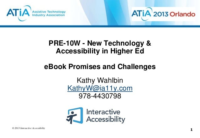 PRE-10W - New Technology &                                    Accessibility in Higher Ed                               eBo...