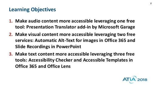 Office 365 Accessibility - ATIA