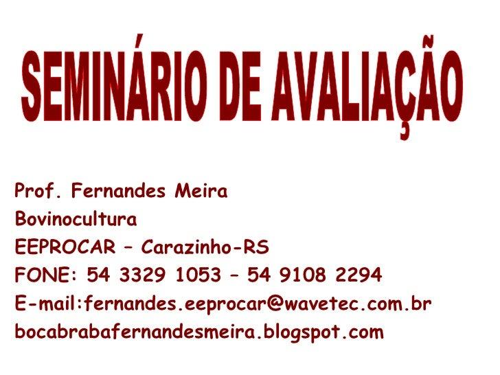 SEMINÁRIO DE AVALIAÇÃO Prof. Fernandes Meira Bovinocultura EEPROCAR – Carazinho-RS FONE: 54 3329 1053 – 54 9108 2294 E-mai...