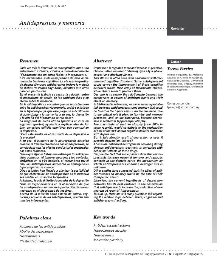 Rev Psiquiatr Urug 2008;72(1):65-87Antidepresivos y memoria                                                               ...
