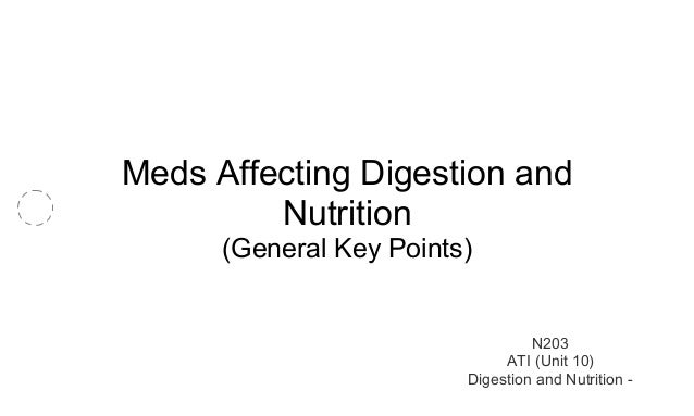 Meds Affecting Digestion and  Nutrition  (General Key Points)  N203  ATI (Unit 10)  Digestion and Nutrition -