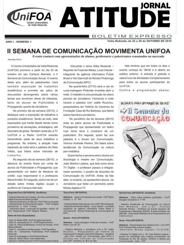 ~  , rFoA  Centro Universitário L de Volta Redonda  l     BOLETHVI EXPRESSC)  ANO l- NÚMERO 1  Volta Redonda,  de 22 a 29 ...