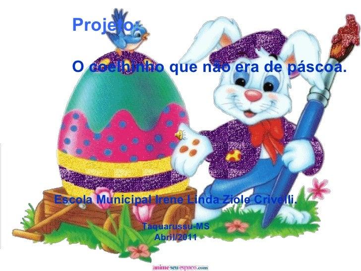 Projeto: O coelhinho que não era de páscoa. Escola Municipal Irene Linda Ziole Crivelli. Taquarussu-MS Abril/2011
