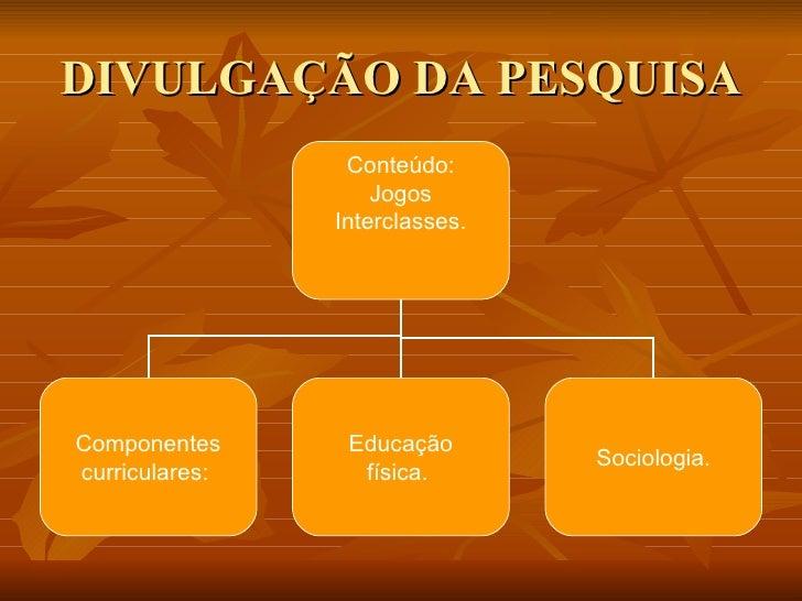 DIVULGAÇÃO DA PESQUISA Conteúdo: Jogos Interclasses. Componentes curriculares:  Educação física.  Sociologia.