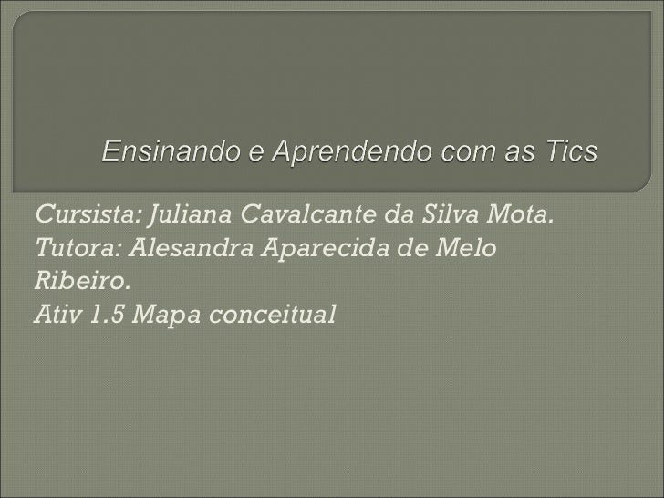 Cursista: Juliana Cavalcante da Silva Mota.Tutora: Alesandra Aparecida de MeloRibeiro.Ativ 1.5 Mapa conceitual