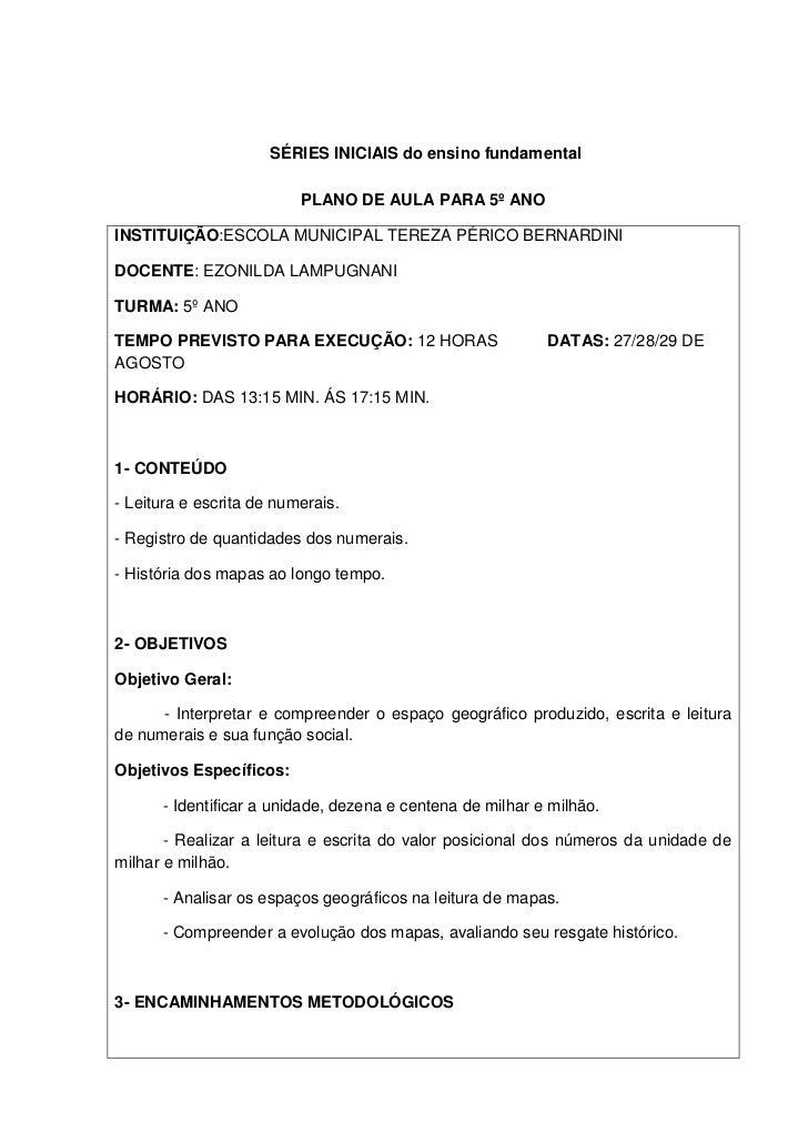 SÉRIES INICIAIS do ensino fundamental                          PLANO DE AULA PARA 5º ANOINSTITUIÇÃO:ESCOLA MUNICIPAL TEREZ...