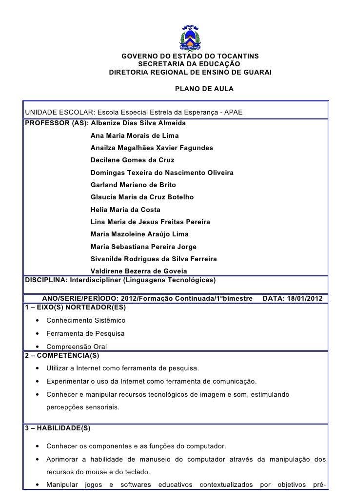 GOVERNO DO ESTADO DO TOCANTINS                                 SECRETARIA DA EDUCAÇÃO                           DIRETORIA ...
