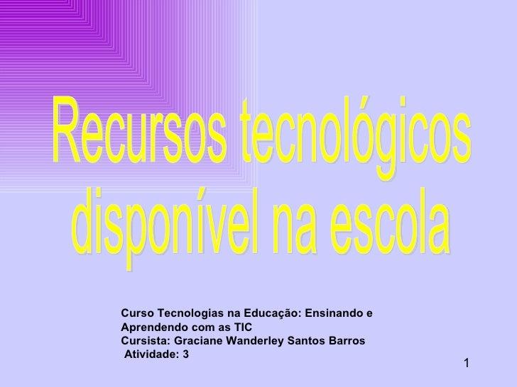 Curso Tecnologias na Educação: Ensinando e Aprendendo com as TIC Cursista: Graciane Wanderley Santos Barros Atividade: 3 1...