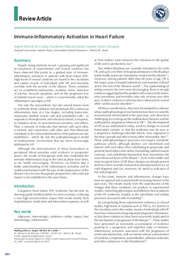 Review Article Key words Adjuvants, immunologic; cytokines; cardiac output, low/ immunology; inflammation. Immune-Inflamma...