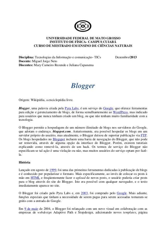 UNIVERSIDADE FEDERAL DE MATO GROSSO INSTITUTO DE FÍSICA- CAMPUS CUIABÁ CURSO DE MESTRADO EM ENSINO DE CIÊNCIAS NATURAIS  D...