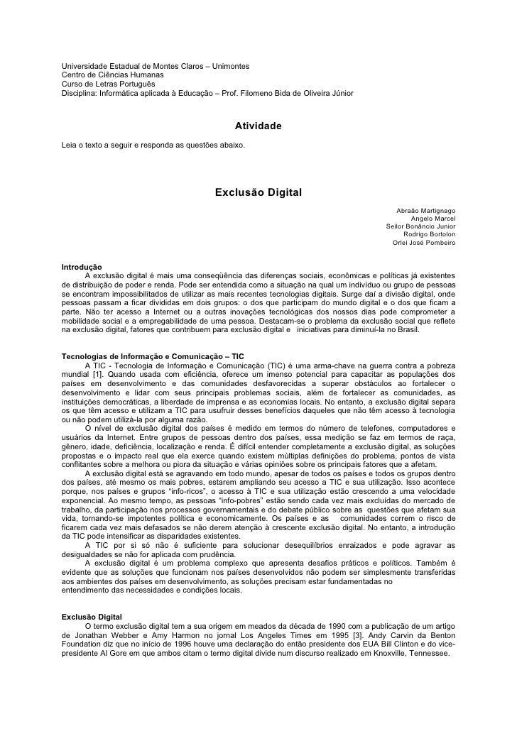 Universidade Estadual de Montes Claros – Unimontes Centro de Ciências Humanas Curso de Letras Português Disciplina: Inform...