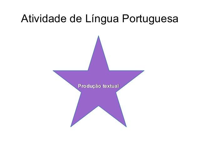Atividade de Língua Portuguesa  Produção textual