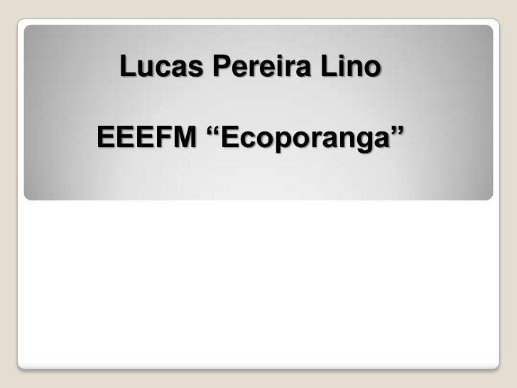 "Lucas Pereira LinoEEEFM ""Ecoporanga"""