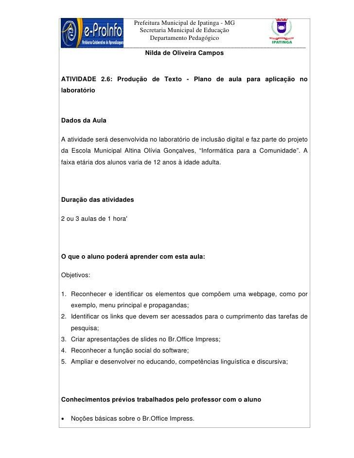 Prefeitura Municipal de Ipatinga - MG                        Secretaria Municipal de Educação                            D...