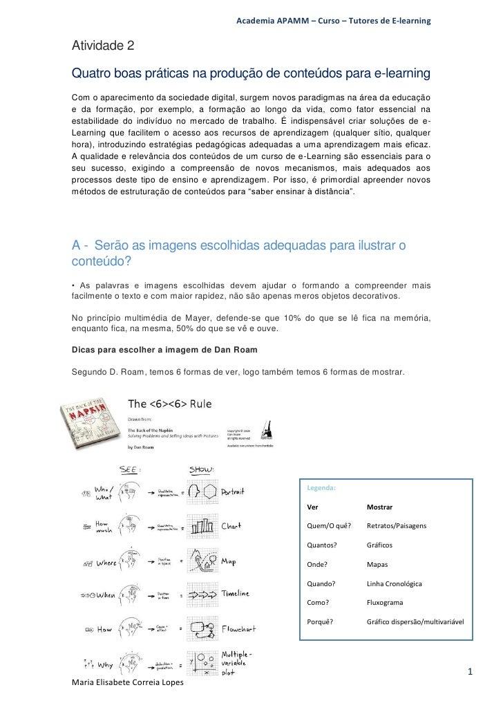 Academia APAMM – Curso – Tutores de E-learningAtividade 2Quatro boas práticas na produção de conteúdos para e-learningCom ...