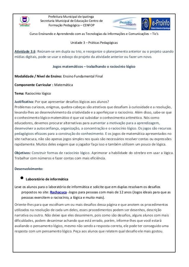 Prefeitura Municipal de Ipatinga                Secretaria Municipal de Educação Centro de                      Formação P...
