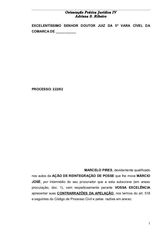 Orientação Prática Jurídica IV  Adriana S. Ribeiro  EXCELENTÍSSIMO SENHOR DOUTOR JUIZ DA 5ª VARA CÍVEL DA  COMARCA DE ____...