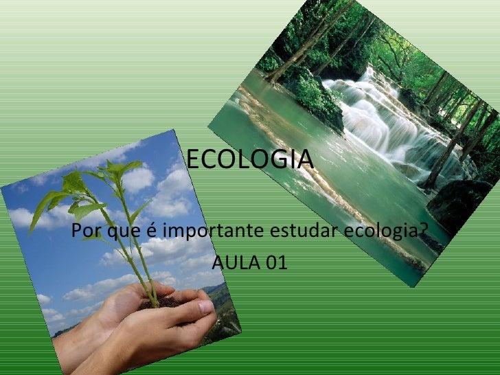 ECOLOGIA Por que é importante estudar ecologia? AULA 01