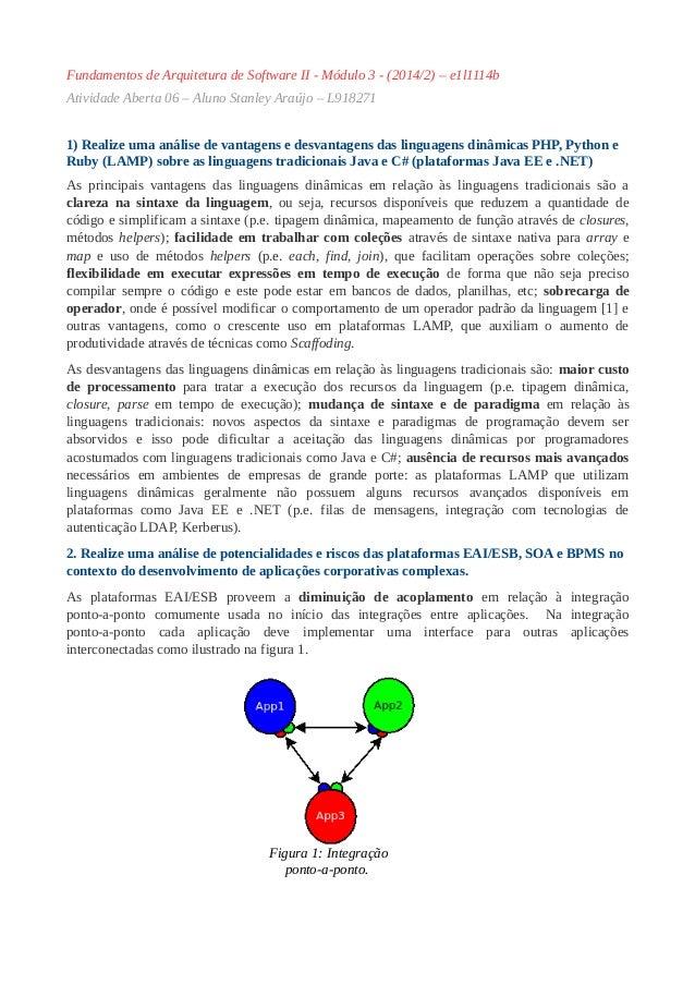 Fundamentos de Arquitetura de Software II - Módulo 3 - (2014/2) – e1l1114b Atividade Aberta 06 – Aluno Stanley Araújo – L9...