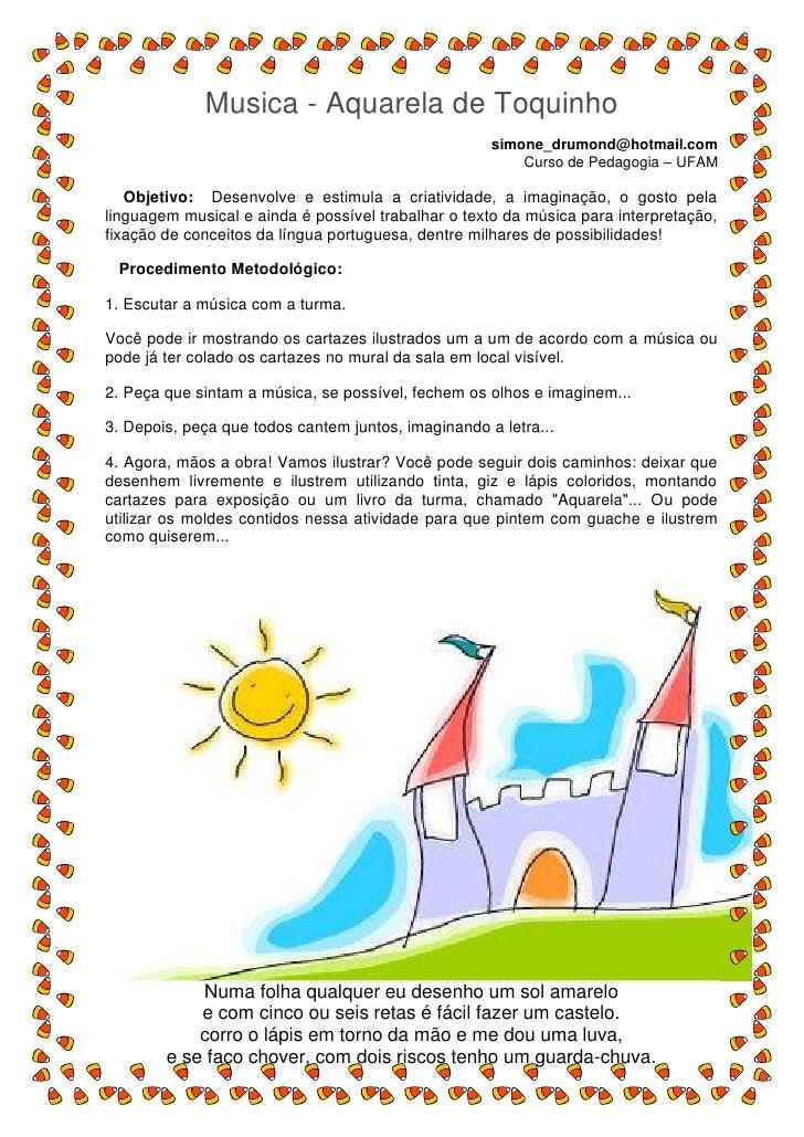 Musica - Aquarela de Toquinho                                                      simone_drumond@hotmail.com             ...