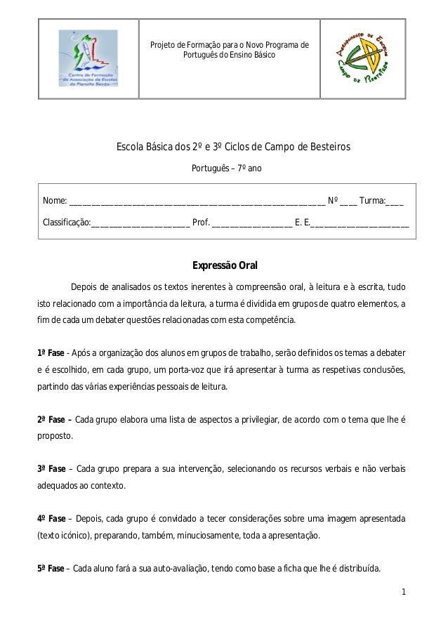 1Escola Básica dos 2º e 3º Ciclos de Campo de BesteirosPortuguês – 7º anoNome: ___________________________________________...
