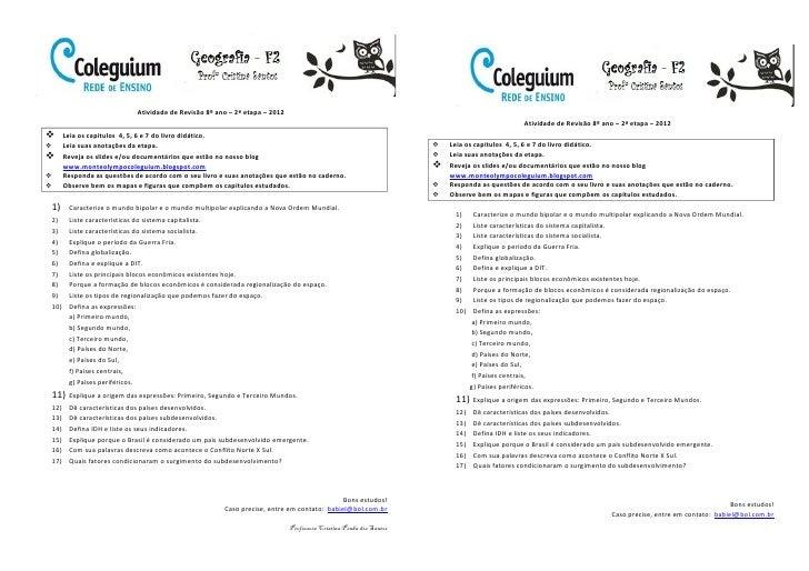 Atividade de Revisão 8º ano – 2ª etapa – 2012                                                                             ...