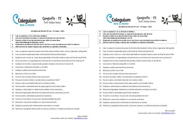 Atividade de Revisão 9º ano – 2ª etapa – 2013 Leia os capítulos 7, 8, 9, 10 do livro didático. Leia suas anotações da et...