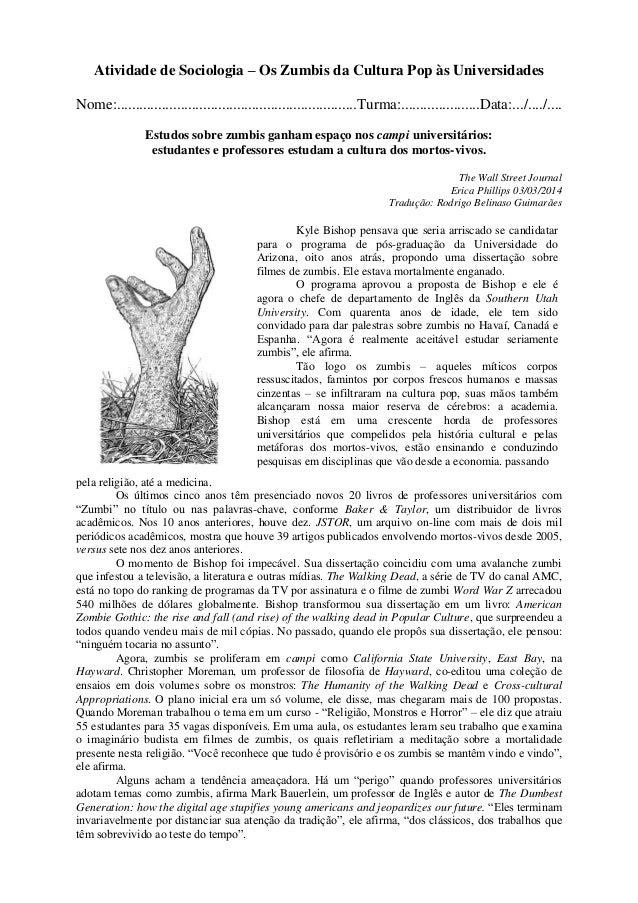 Atividade de Sociologia – Os Zumbis da Cultura Pop às Universidades Nome:....................................................