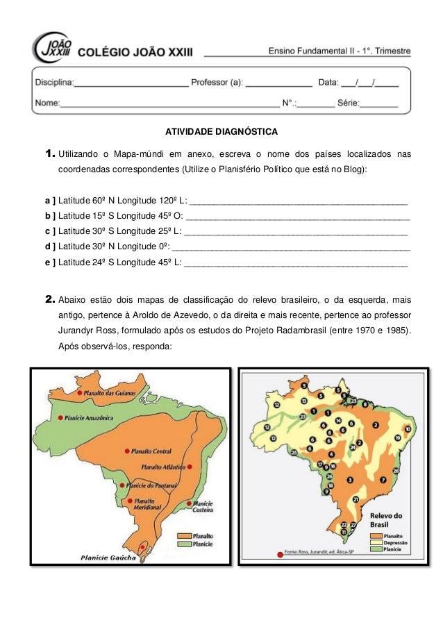 ATIVIDADE DIAGNÓSTICA 1. Utilizando o Mapa-múndi em anexo, escreva o nome dos países localizados nas coordenadas correspon...