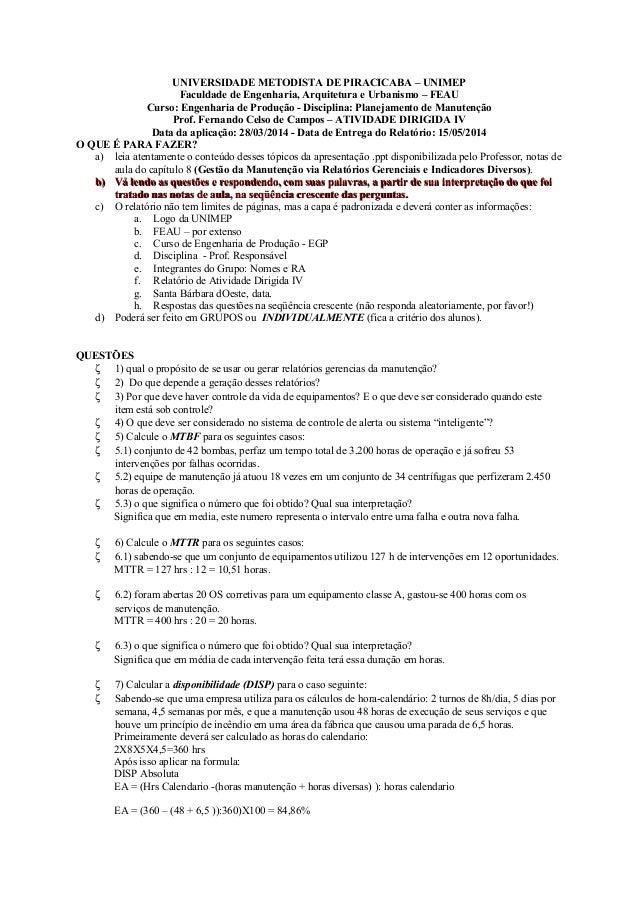 UNIVERSIDADE METODISTA DE PIRACICABA – UNIMEP Faculdade de Engenharia, Arquitetura e Urbanismo – FEAU Curso: Engenharia de...