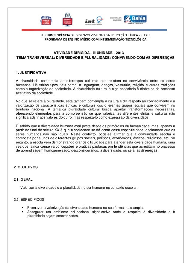 SUPERINTENDÊNCIA DE DESENVOLVIMENTO DA EDUCAÇÃO BÁSICA - SUDEB PROGRAMA DE ENSINO MÉDIO COM INTERMEDIAÇÃO TECNOLÓGICA  ATI...