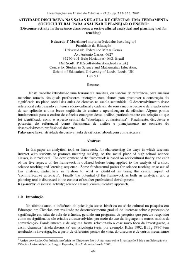 Investigações em Ensino de Ciências – V7(3), pp. 283-306, 2002 283 ATIVIDADE DISCURSIVA NAS SALAS DE AULA DE CIÊNCIAS: UMA...