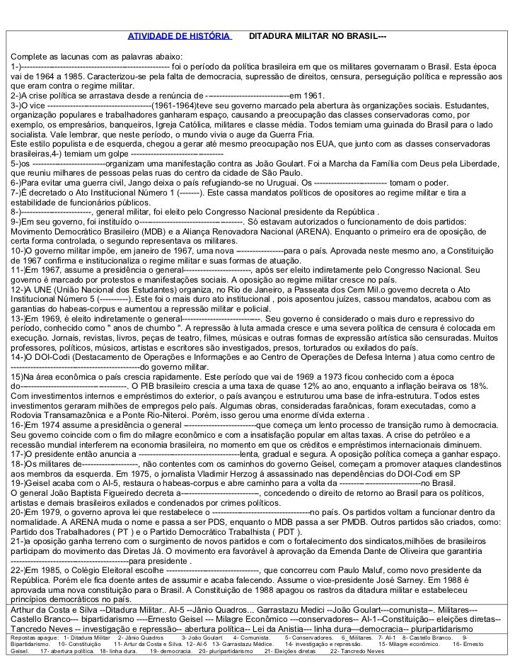 ATIVIDADE DE HISTÓRIA                        DITADURA MILITAR NO BRASIL---Complete as lacunas com as palavras abaixo:1-)--...