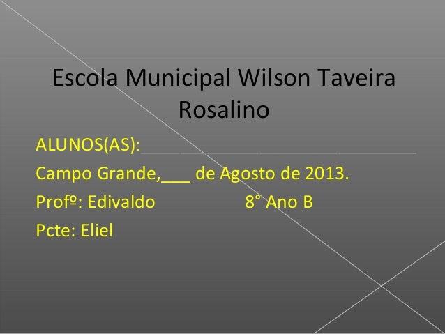 Escola Municipal Wilson Taveira Rosalino ALUNOS(AS):____________________________ Campo Grande,___ de Agosto de 2013. Profº...