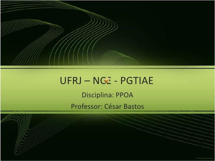 UFRJ – NCE - PGTIAE<br />Disciplina: PPOA <br />Professor: César Bastos<br />