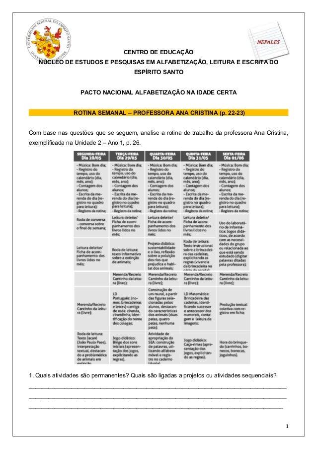 CENTRO DE EDUCAÇÃONÚCLEO DE ESTUDOS E PESQUISAS EM ALFABETIZAÇÃO, LEITURA E ESCRITA DOESPÍRITO SANTOPACTO NACIONAL ALFABET...