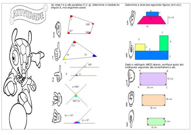 As retas f e g são paralelas (f // g). Determine a medida do ângulo â, nos seguintes casos:  Determine a área das seguinte...