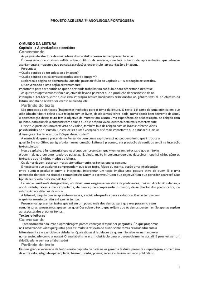PROJETO ACELERA 7º ANO/LÍNGUA PORTUGUESAO MUNDO DA LEITURACapítulo 1: A produção de sentidosConversando  As páginas de abe...