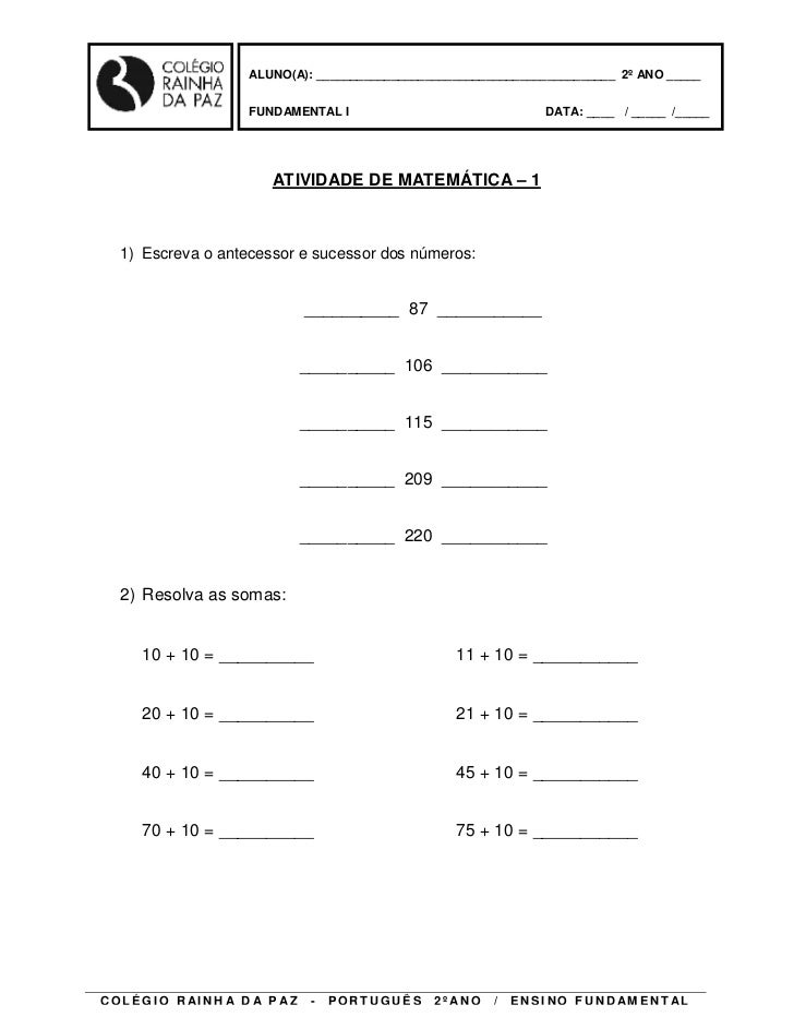 ALUNO(A): ____________________________________________ 2º ANO _____                        FUNDAMENTAL I                  ...