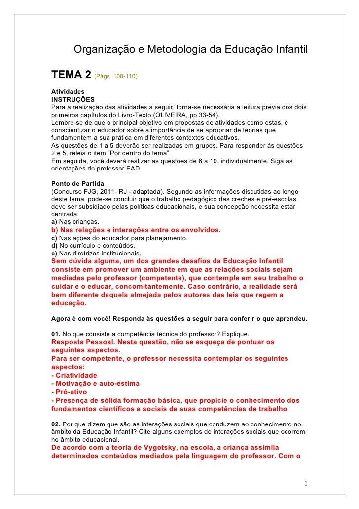 Organização e Metodologia da Educação InfantilTEMA 2 (Págs. 108-110)AtividadesINSTRUÇÕESPara a realização das atividades a...