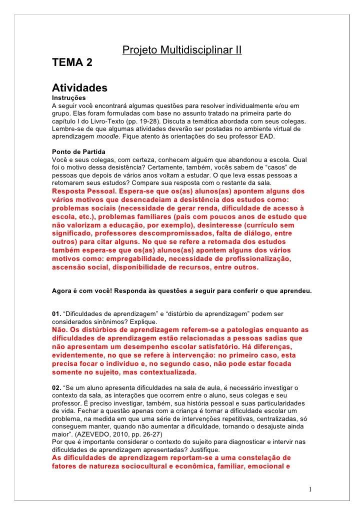 Projeto Multidisciplinar IITEMA 2AtividadesInstruçõesA seguir você encontrará algumas questões para resolver individualmen...