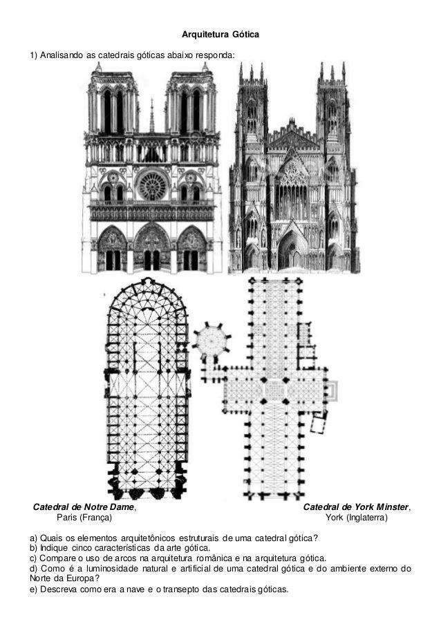 Arquitetura Gótica 1) Analisando as catedrais góticas abaixo responda: Catedral de Notre Dame, Paris (França) Catedral de ...