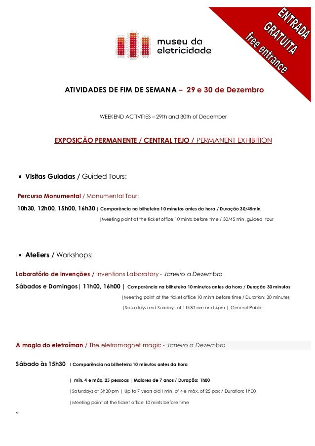 ATIVIDADES DE FIM DE SEMANA – 29 e 30 de Dezembro                                  WEEKEND ACTIVITIES – 29th and 30th of D...
