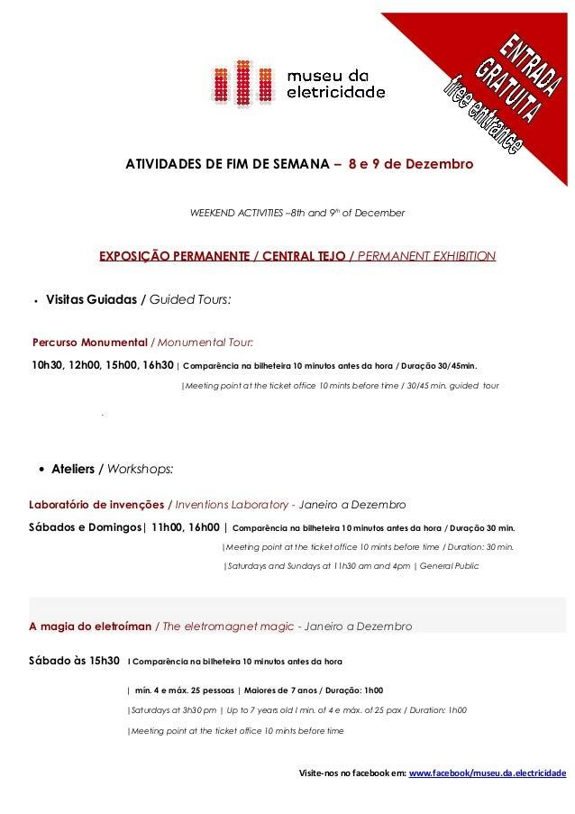 ATIVIDADES DE FIM DE SEMANA – 8 e 9 de Dezembro                                    WEEKEND ACTIVITIES –8th and 9th of Dece...