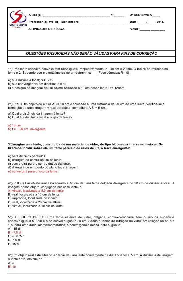 7e713a4ec0e6e Atividades de física lentes 2013 prof waldir montenegro