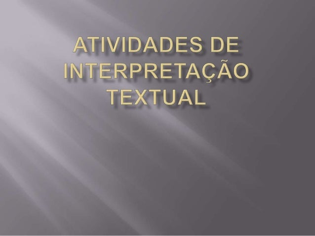 Atividades de interpretação textual