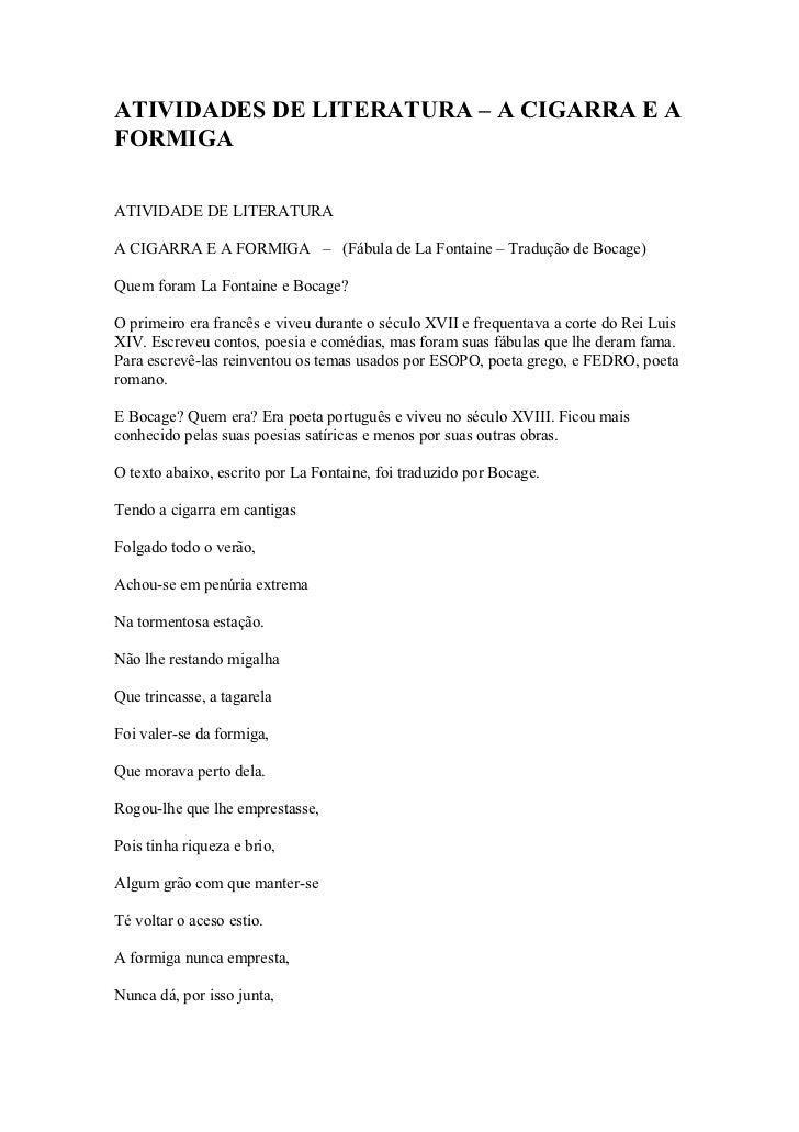 ATIVIDADES DE LITERATURA – A CIGARRA E AFORMIGAATIVIDADE DE LITERATURAA CIGARRA E A FORMIGA – (Fábula de La Fontaine – Tra...