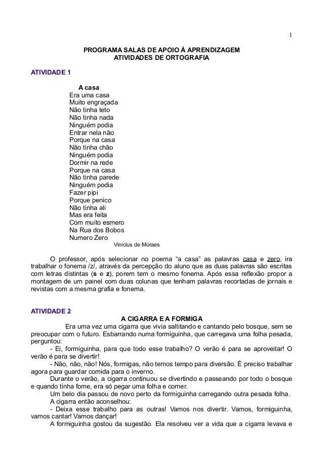 1                 PROGRAMA SALAS DE APOIO À APRENDIZAGEM                       ATIVIDADES DE ORTOGRAFIAATIVIDADE 1        ...