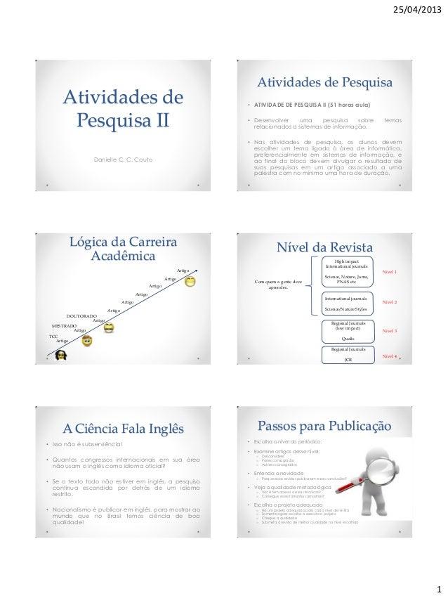 25/04/20131Atividades dePesquisa IIDanielle C. C. CoutoAtividades de Pesquisa• ATIVIDADE DE PESQUISA II (51 horas aula)• D...