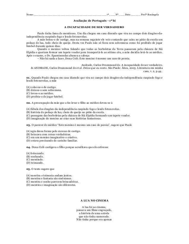 Nome:______________________________________________7ª____Nº____Data:______ Profª Rosângela  Avaliação de Português –1º bi ...